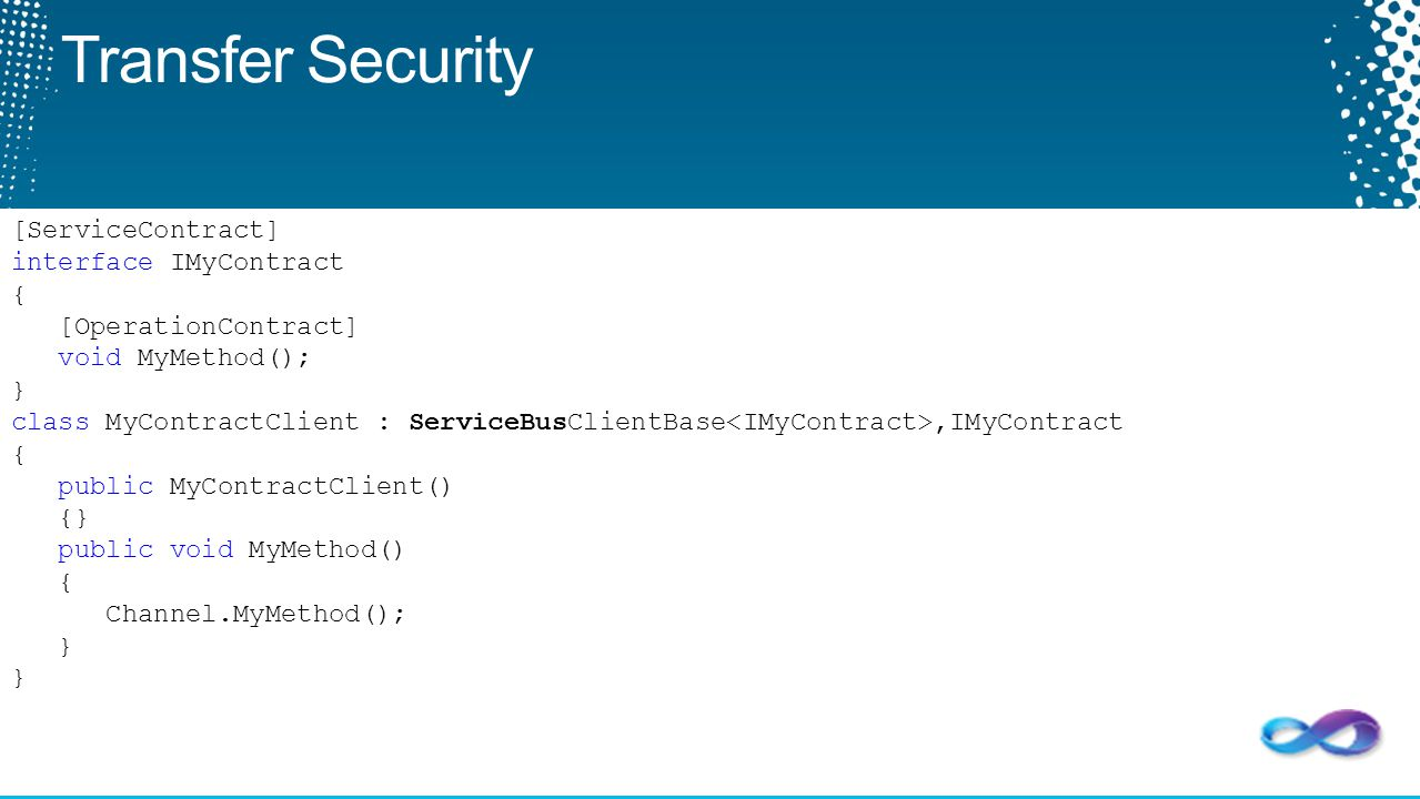 Transfer Security [ServiceContract] interface IMyContract {